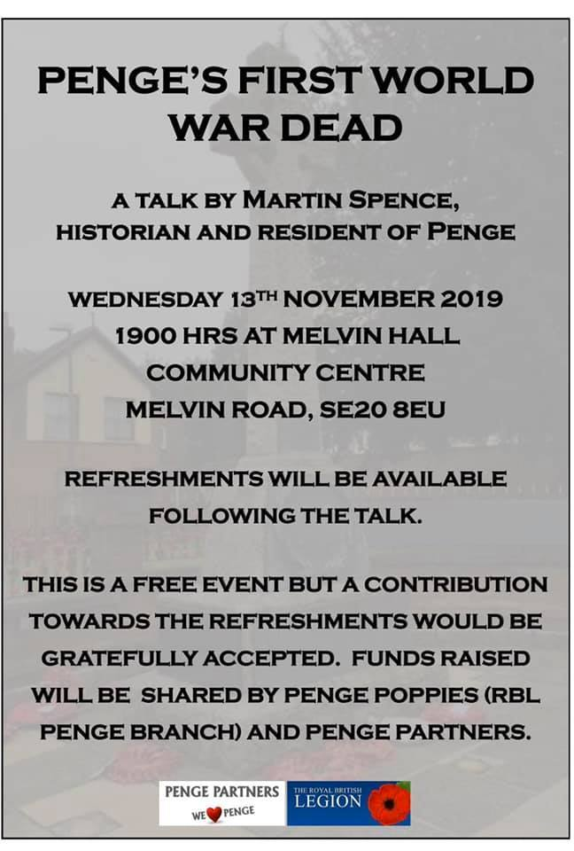 Talk by Martin Spence – Penge's First World War Dead